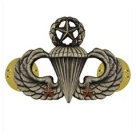 Vanguard ARMY BADGE: MASTER COMBAT PARACHUTE SECOND AWARD - SILVER OXIDIZED