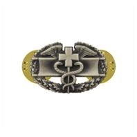 Vanguard ARMY DRESS BADGE: COMBAT MEDICAL FIRST AWARD MINIATURE, SILVER OXIDIZED