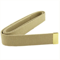 Vanguard MARINE CORPS BELT: KHAKI COTTON WITH 24K GOLD PLATED TIP XL