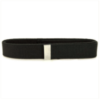Vanguard BELT: BLACK COTTON WITH SILVER MIRROR TIP - MALE