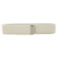 Vanguard BELT: WHITE COTTON WITH SILVER MIRROR TIP - MALE