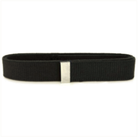 Vanguard NAVY BELT: BLACK COTTON WITH SILVER MIRROR TIP - FEMALE XL