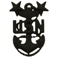 Vanguard NAVY CAP DEVICE: E9 CHIEF PETTY OFFICER: MASTER - BLACK METAL