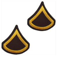 Vanguard ARMY CHEVRON: PRIVATE FIRST CLASS - GOLD EMBROIDERED ON GREEN, MALE