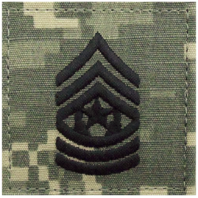 Vanguard ARMY EMBROIDERED ACU WITH HOOK RANK INSIGNIA: COMMAND SERGEANT MAJOR