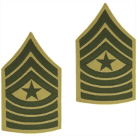Vanguard MARINE CORPS CHEVRON: SERGEANT MAJOR - GREEN EMBROIDERED ON KHAKI, MALE