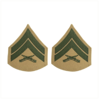 Vanguard MARINE CORPS CHEVRON: CORPORAL - GREEN EMBROIDERED ON KHAKI, FEMALE