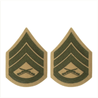 Vanguard MARINE CORPS CHEVRON: STAFF SERGEANT GREEN EMBROIDERED ON KHAKI, FEMALE