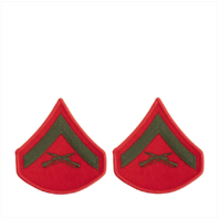 Vanguard MARINE CORPS CHEVRON: LANCE CORPORAL - GREEN EMBROIDERED ON RED, FEMALE