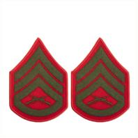 Vanguard MARINE CORPS CHEVRON: STAFF SERGEANT - GREEN EMBROIDERED ON RED, FEMALE