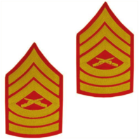 Vanguard MARINE CORPS CHEVRON: MASTER SERGEANT - GOLD EMBROIDERED ON RED, MALE