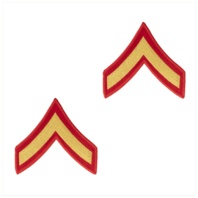 Vanguard MARINE CORPS CHEVRON: PRIVATE FIRST CLASS - GOLD ON RED FOR FEMALE