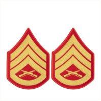 Vanguard MARINE CORPS CHEVRON: STAFF SERGEANT - GOLD EMBROIDERED ON RED, FEMALE