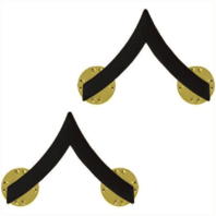 Vanguard MARINE CORPS CHEVRON: PRIVATE FIRST CLASS - BLACK METAL, SOLID BRASS