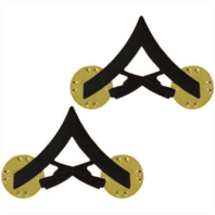 Vanguard MARINE CORPS CHEVRON: LANCE CORPORAL - BLACK METAL, SOLID BRASS