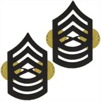 Vanguard MARINE CORPS CHEVRON: MASTER SERGEANT - BLACK METAL, SOLID BRASS