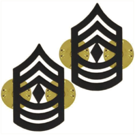 Vanguard MARINE CORPS CHEVRON: FIRST SERGEANT - BLACK METAL, SOLID BRASS