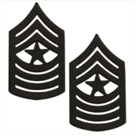Vanguard MARINE CORPS CHEVRON: SERGEANT MAJOR - BLACK METAL, SOLID BRASS
