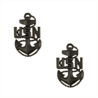 Vanguard NAVY COLLAR DEVICE: E-7 CORPSMAN OR SEABEE SMALL (Black) (Pair)