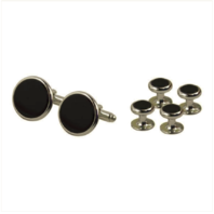 Vanguard NAVY CUFF LINKS AND SHIRT STUD: BLACK ONYX WITH SILVER BACKING SET OF 4
