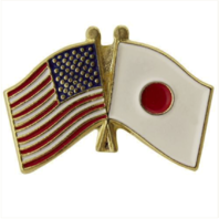 Vanguard LAPEL PIN: CROSSED FLAGS - UNITED STATES AND JAPAN