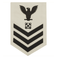 Vanguard NAVY E6 MALE RATING BADGE: BOATSWAIN'S MATE BLUE CHEVRONS ON WHITE CNT