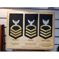 Vanguard NAVY E8 MALE RATING BADGE HULL MAINTENANCE TECH SEAWORTHY GOLD BLUE