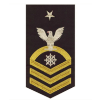 Vanguard NAVY E8 MALE RATING BADGE: QUARTERMASTER - SEAWORTHY GOLD ON BLUE