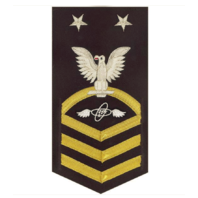Vanguard NAVY E9 MALE RATING BADGE: AVIATION ELECTRONICS TECH VANCHIEF ON BLUE
