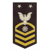 Vanguard NAVY E9 MALE RATING BADGE: QUARTERMASTER - VANCHIEF ON BLUE