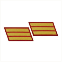 Vanguard MARINE CORPS SERVICE STRIPE: FEMALE - GOLD ON RED, SET OF 3