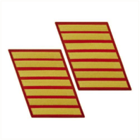 Vanguard MARINE CORPS SERVICE STRIPE: FEMALE - GOLD ON RED, SET OF 7