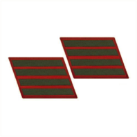 Vanguard MARINE CORPS SERVICE STRIPE: FEMALE - GREEN ON RED, SET OF 4