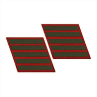 Vanguard MARINE CORPS SERVICE STRIPE: FEMALE - GREEN ON RED, SET OF 5