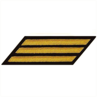 Vanguard NAVY CPO HASH MARKS: SEAWORTHY GOLD EMBROIDERED ON BLUE - SET OF 3
