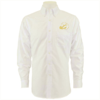Vanguard NAVY LEAGUE MEN'S WHITE LONG SLEEVE OXFORD SHIRT WITH GOLD LOGO - L