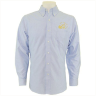 Vanguard NAVY LEAGUE MEN'S LIGHT BLUE LONG SLEEVE OXFORD SHIRT W/GOLD LOGO - S