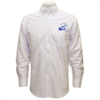 Vanguard NAVY LEAGUE MEN'S WHITE LONG SLEEVE OXFORD SHIRT W/BLUE LOGO - S