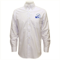 Vanguard NAVY LEAGUE MEN'S WHITE LONG SLEEVE OXFORD SHIRT WITH BLUE LOGO - 3XL