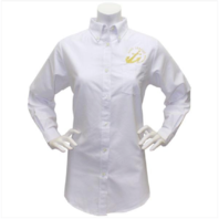 Vanguard NAVY LEAGUE WOMEN'S WHITE LONG SLEEVE OXFORD SHIRT W/GOLD LOGO LARGE