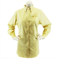 Vanguard NAVY LEAGUE WOMEN'S BUTTER LONG SLEEVE OXFORD SHIRT WITH GOLD LOGO - S