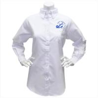 Vanguard NAVY LEAGUE WOMEN'S WHITE LONG SLEEVE OXFORD SHIRT W/BLUE LOGO 3XLARGE