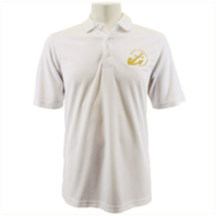 Vanguard NAVY LEAGUE MEN'S WHITE PERFORMANCE POLO SHIRT WITH GOLD LOGO - M