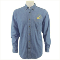 Vanguard NAVY LEAGUE MEN'S LIGHT BLUE DENIM LONG SLEEVE SHIRT WITH GOLD LOGO - L