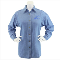 Vanguard NAVY LEAGUE WOMEN'S LIGHT BLUE DENIM LONG SLEEVE SHIRT W/BLUE LOGO 3XL