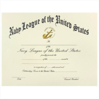 Vanguard NAVY LEAGUE OF UNITED STATES CERTIFICATE SAILOR OF THE YEAR OR QUARTER