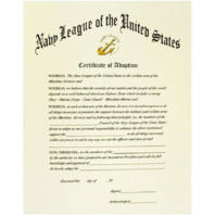 Vanguard NAVY LEAGUE OF THE UNITED STATES CERTIFICATE OF ADOPTION