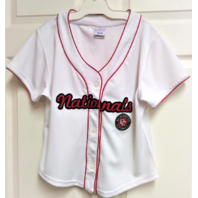 Lady Slugger Washington Nationals White Jersey Shirt Womens Size L MLB Baseball