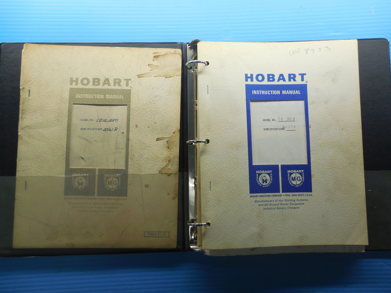 SET OF HOBART AC/DC WELDER & SILICON DIODE RECTIFIER CHARGER INSTRUCTION  MANUALS