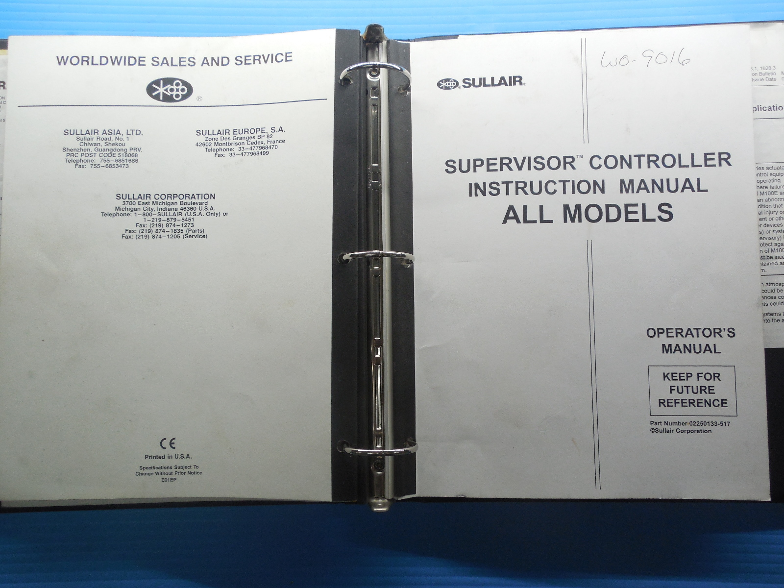 SULLAIR INDUSTRIAL AIR COMPRESSOR HEAT RECOVERY & CONTROLLER OPERATOR'S  MANUALS